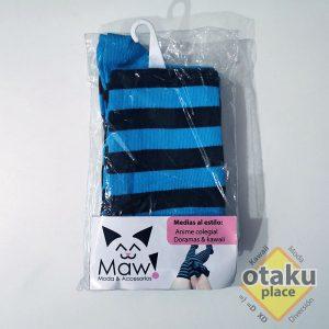 medias rayadas azul y negro